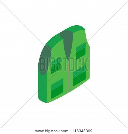 Green hunter vest isometric 3d icon