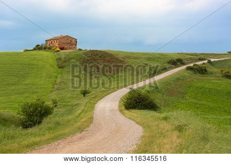 Tuscany Farmhouse With Lightning At Horizon, Pienza, Italy
