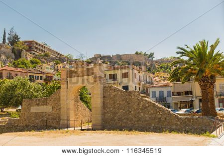old gate of medieval fortress in Nafplio, Greece