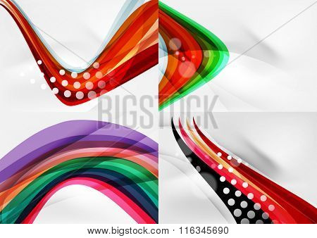 Set of abstract backgrounds. Curve wave lines with light and shadow effects