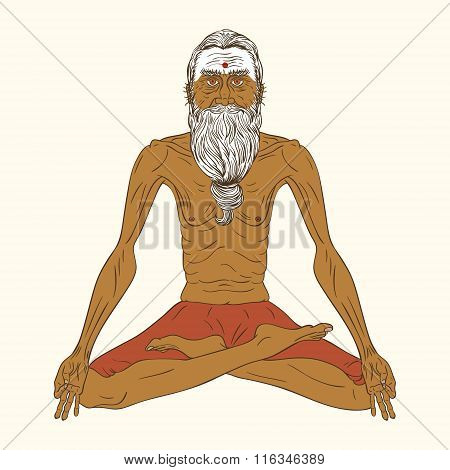 Old Indian Yogi Man.