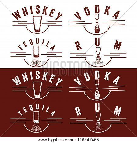 Whiskey,rum,vodka And Tequila Vintage Labels Set