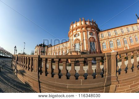 famous Biebrich Castle in Wiesbaden under blue sky ** Note: Soft Focus at 100%, best at smaller sizes