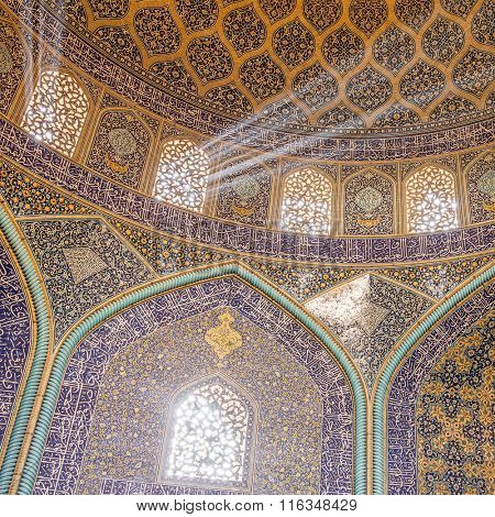 Isfahan, Iran - December 13, 2015: Sheikh Lotfollah Mosque at Naqhsh-e Jahan Square in Isfahan, Iran. Interior view