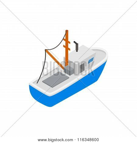 Fishing boat isometric 3d icon