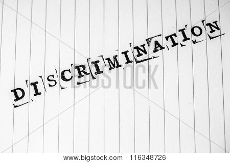 Discrimination Text On Paper