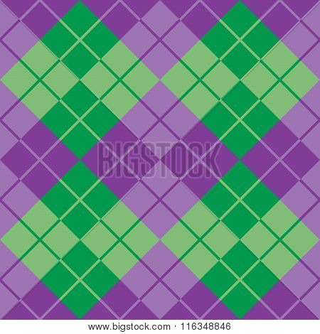 Classic argyle pattern in alternating shades of green and purple repeats seamlessly.