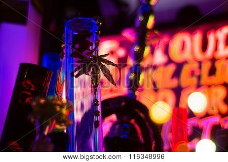 Bong and gold marijuana leaf in shop window