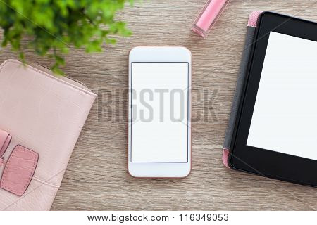 White Phone With Isolated Screen And E-rider On Women Table