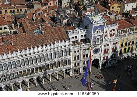 Venice, Italy - Aerial View Of The St Mark's Clocktower On St Mark's Square (pia