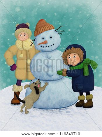 Winter illustration with kids and snowman.