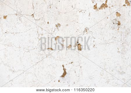 Old, Grungy White Background Of Natural Plaster Wall Surface.