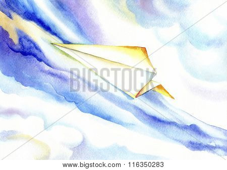 Paper plane soaring in the blue sky