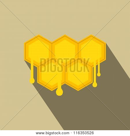 Honeycomb with drops flat icon