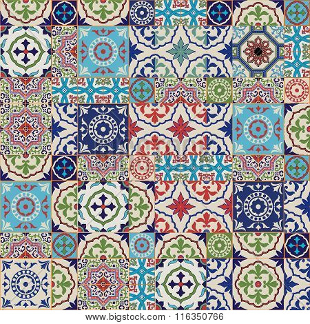 Mega Gorgeous seamless patchwork pattern from colorful Moroccan tiles, ornaments. Can be used for wa