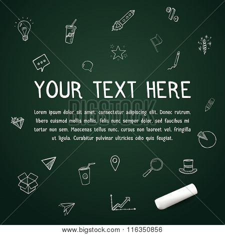 Your text here on vector chalkboard with chalk