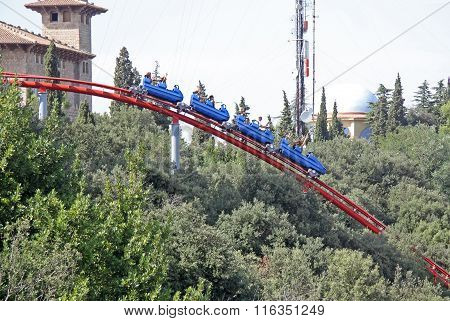 Barcelona, Catalonia, Spain - August 29, 2012: Roller Coaster Attraction In The Tibidabo Amusement P