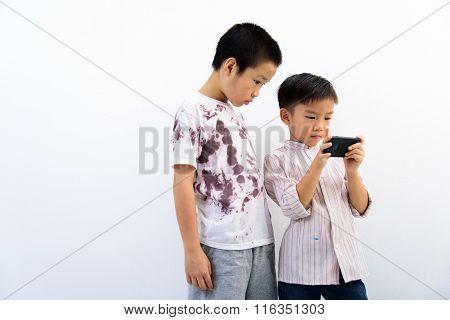 Poor Boy And Smartphone.