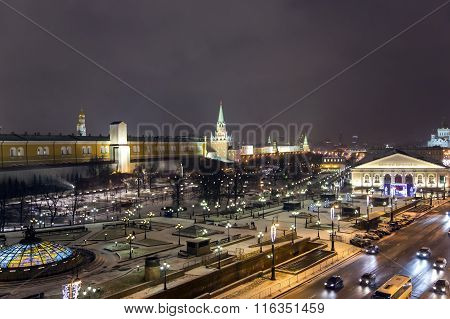 Night panorama of Manege Square and Temple of Christ of Savior