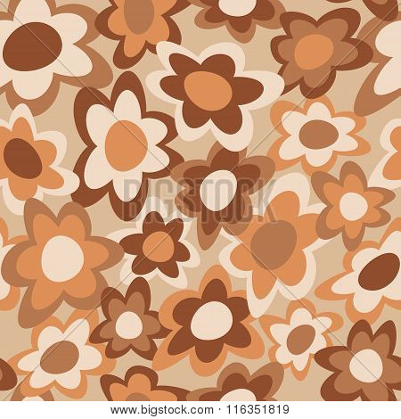Funky Flowers retro-styled seamless pattern in brown and orange.