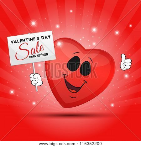 Funny Red Heart With Placard