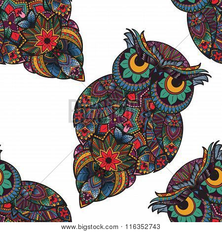 Vector illustration of owl. Bird illustrated in tribal. Owl with flowers on light background. Shaped
