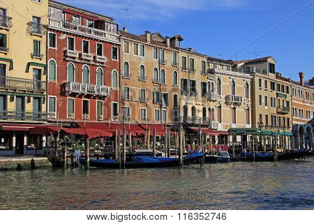 Venice, Italy - September 02, 2012: Old Typical Buildings On Grand Canal And Gondolas, Venice, Italy