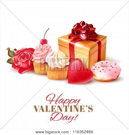 Valentines day background with gift and cakes. Vector illustration.