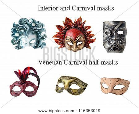 Set of 6 Handmade Interior and carnaval masks