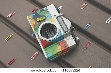 Colorful Retro Camera On The Table