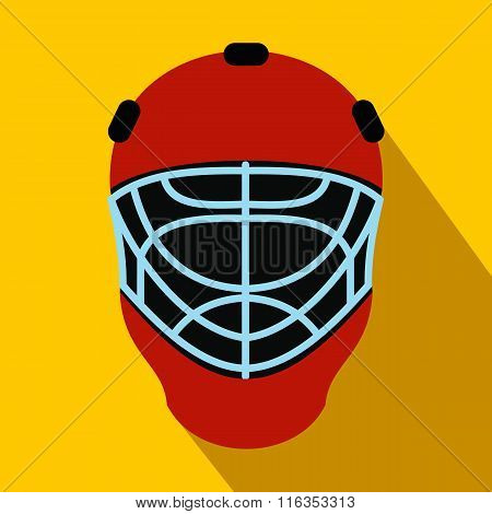 Goalkeeper hockey helmet flat icon