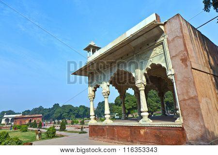 NEW DELHI, INDIA - JUNE 11 2012: Sawan pavilion in Red Fort Complex in Delhi India.