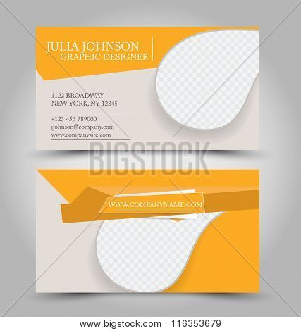 Business Card Design Set Template For Company Corporate Style. Orange Color. Vector Illustration.