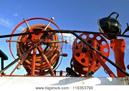 Hoses of old firefighting equipment