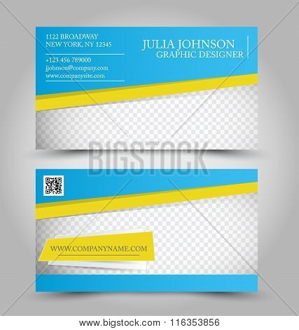 Business Card Design Set Template For Company Corporate Style. Blue And Yellow Color. Vector Illustr