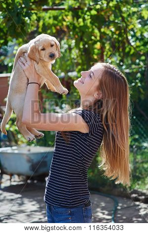 Beautiful Woman Playing With A White Labrador Puppy
