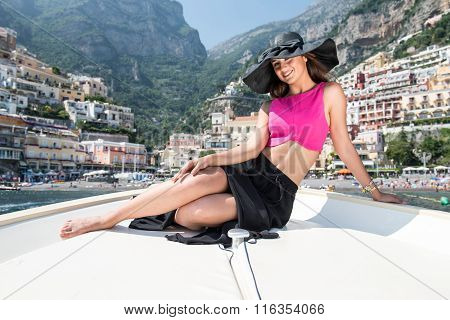 Beautiful Girl In Positano On The Amalfi Posing On The Boat With View
