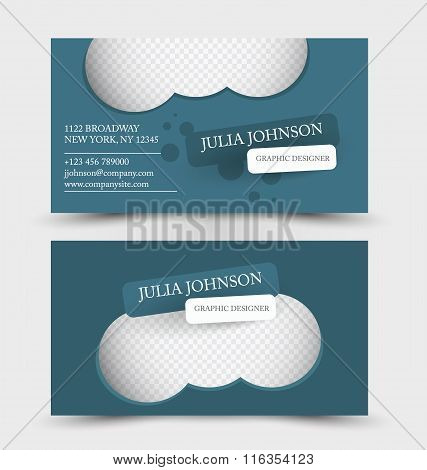 Business Card Design Set Template For Company Corporate Style. Blue And Silver Color. Vector Illustr