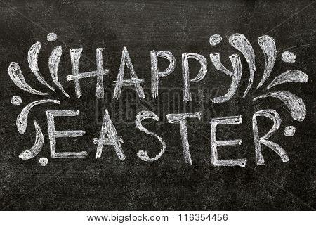 Happy Easter Text On Blackboard