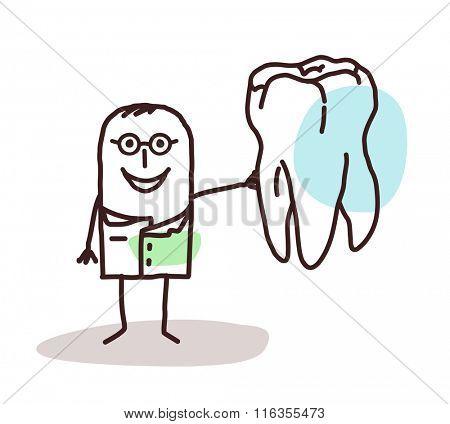 vector cartoon dentist with big tooth