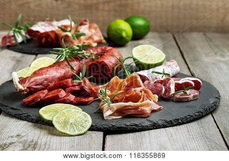 Traditional spanish tapas or italian antipasti