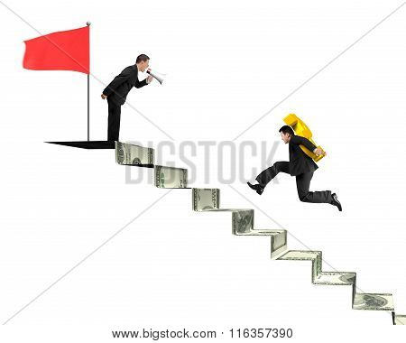 Businessman Shouting Another Carrying Usd On Money Stairs With Flag