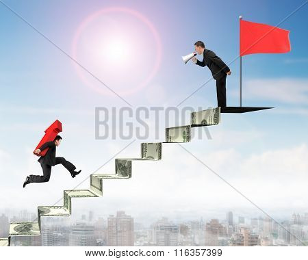 Boss Shouting Businesman Carrying Arrow On Money Stairs With Flag