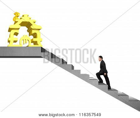 Businesspeople Walking On Stairs To Money Stacking House Isolated White