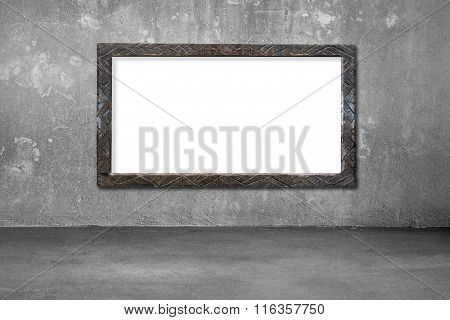 Blank White Board With Old Dirty Wooden Frame On Wall