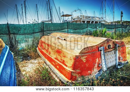 Close Up Of A Boat Overturned In Hdr
