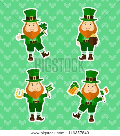 Set of four stickers with funny leprechauns
