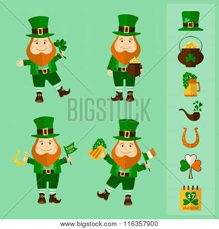 Saint Patrick's Day set: four leprechauns and traditional elements