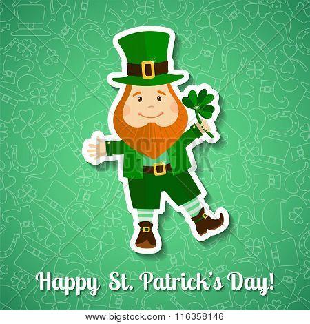 Saint Patrick's Day greeting card with leprechaun
