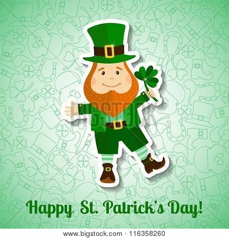 Saint Patrick's Day greeting card with leprechaun